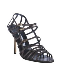 Manolo Blahnik | Brown Coffee Leather Amacha Strappy Sandals | Lyst
