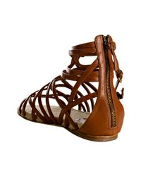 Miu Miu | Brown Strappy Leather Flat Gladiator Sandals | Lyst
