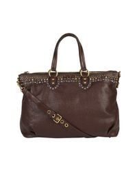 Miu Miu | Brown Studded Leather Bag | Lyst