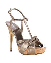 Miu Miu | Metallic Light Gold Leather Knotted T-strap Platform Sandals | Lyst