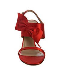 Valentino - Red Satin Bow Detail Sandals - Lyst