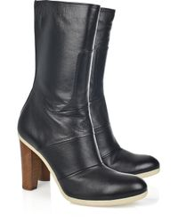 Jil Sander | Black Nappa-leather Calf-length Boots | Lyst