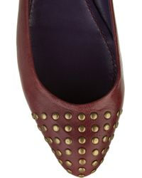 See By Chloé - Red Studded Leather Ballerina Flats - Lyst