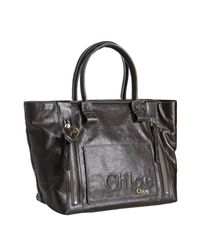 Chloé | Dark Brown Coated Cotton Eclipse Large Tote | Lyst