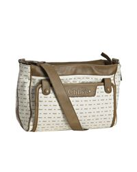 Chloé | White Brown Logo Print Canvas Diaper Bag with Changing Pad | Lyst