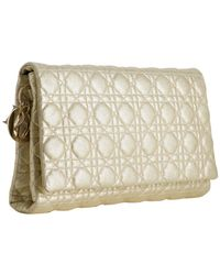 Dior | Metallic Gold Quilted Goatskin Cannage Clutch | Lyst