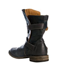 Fiorentini + Baker - Blue Leather Double Buckle Strap Ankle Boots - Lyst