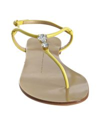 Giuseppe Zanotti - Yellow Nappa Jeweled Thong Sandals - Lyst