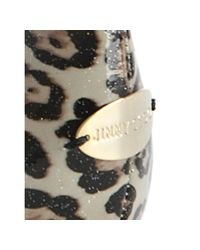 Jimmy Choo - Natural Beige Leopard Patent Witty Flats - Lyst