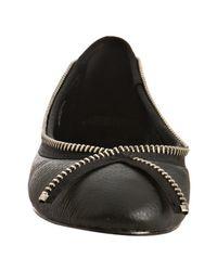 Joe's Jeans - Black Leather Stella Ii Zipper Detail Flats - Lyst
