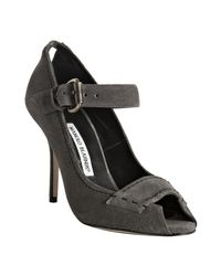 Manolo Blahnik - Gray Grey Suede Reata Peep-toe Mary-jane Pumps - Lyst