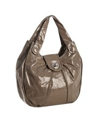 Marc By Marc Jacobs | Brown Pebble Textured Patent Posh Turnlock Hobo | Lyst