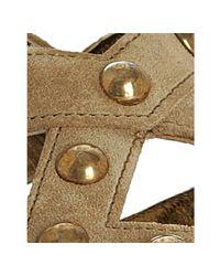 Prada - Natural Desert Suede Studded Slingback Sandals - Lyst