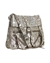 Rebecca Minkoff | Metallic Washed Silver Distressed Leather Main Squeeze Foldover Crossbody Bag | Lyst