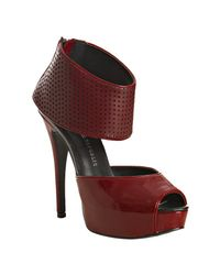 Rock & Republic | Red Perforated Patent Aria Platform Ankle Strap Pumps | Lyst