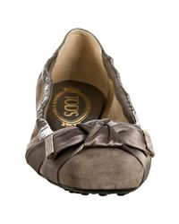 Tod's - Gray Grey Suede Degas Ballet Flats - Lyst