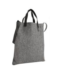 Saint Laurent | Gray Grey Felt Ycones Flat Shopping Tote | Lyst