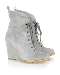 Minimarket | Gray Suede Lace-up Wedge Boots | Lyst