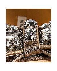 Miu Miu | Metallic Silver Glitter Gold Leather Bow Detail Peep Toe Flats | Lyst