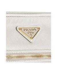 Prada - White Ivory Nylon Saffiano Trim Crossbody Bag - Lyst