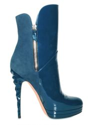 Casadei | Blue 140mm Suede and Patent Ankle Boots | Lyst