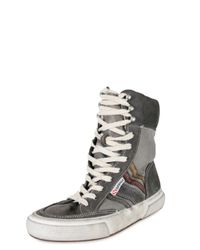 Collection Privée - Gray Suede and Leather Striped Boxing Sneaker - Lyst
