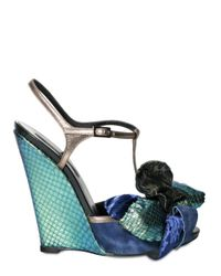 Diego Dolcini | Multicolor 110mm Python Suede Metal Kid Wedges | Lyst