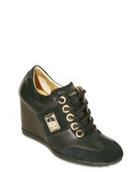 Dolce & Gabbana - Black Suede and Leather Wedge Sneakers - Lyst