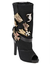 Jo No Fui - Black Canvas Cotton with Pins Boots - Lyst