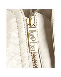 Kooba | White Cream Leather Jagger Zip Expandable Shoulder Tote | Lyst