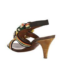 Lanvin | White Braided Silk Brodee Jeweled Slingback Sandals | Lyst
