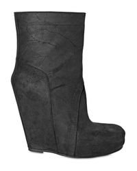 Rick Owens | Black 140mm Distressed Calf Low Boot Wedges | Lyst