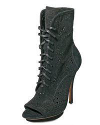 Santoni - Black 120mm Suede Laser Cut Laced Ankle Boots - Lyst