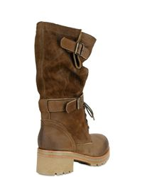 Strategia - Brown Military Distressed Satin Studded Ankle Boots - Lyst