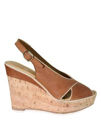 Strategia | Brown Crisscross Slingback Cork Wedge Sandals | Lyst