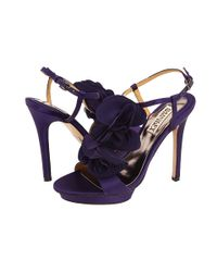 Badgley Mischka | Purple Randee High Heel Ruffle Flower Sandals | Lyst