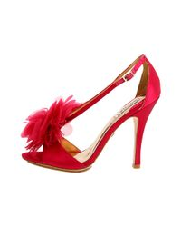 Badgley Mischka - Pink Kiwi Feather Evening Sandals - Lyst