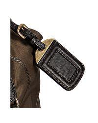 Prada - Black Burnt Logo Jacquard Nylon Medium Bag - Lyst