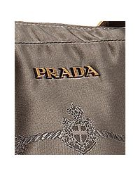 Prada - Brown Olive Nylon Gabardine Top Handle Bag - Lyst
