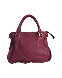 Chloé | Red Cranberry Pebbled Calfskin Marcie Shoulder Bag | Lyst
