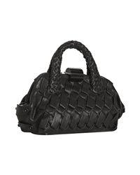 Ferragamo | Black Woven Leather Giovanna Handbag | Lyst