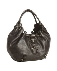 Ferragamo | Brown Leather Gathered Handle Hobo Bag | Lyst