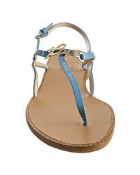 Moschino | Love Light Blue Patent Love Thong Flat Sandals | Lyst