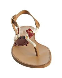 Moschino - Love Light Brown Leather Crab Thong Flat Sandals - Lyst