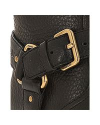 Prada - Sport Black Leather Harness Riding Boots - Lyst