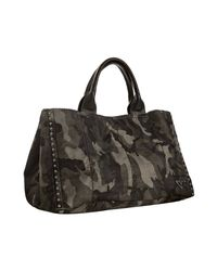 Prada | Gray Smoke Camouflage Nylon Leather Trim Shopping Tote | Lyst