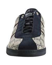 Gucci - Blue Navy Gg Plus Web Stripe Sneakers - Lyst