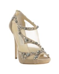 Jimmy Choo | Natural Beige Suede and Mesh Jeweled Quinze Sandals | Lyst