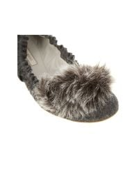 Nina Ricci - Gray Fur Detail Pumps - Lyst