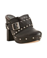 Vince Camuto | Black Leather Christies Harness Platform Clogs | Lyst